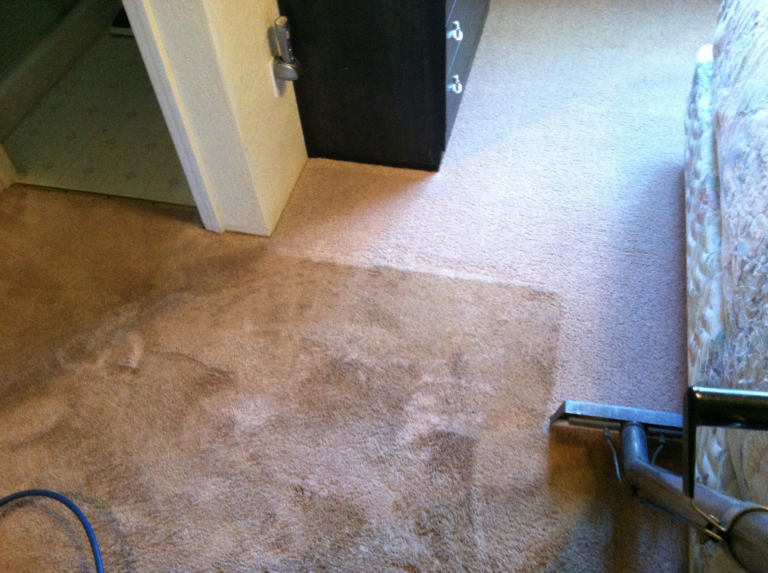 Tan carpet-before very soiled